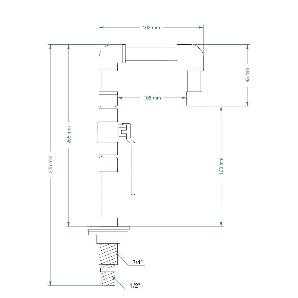 Torneira Design Industrial Dourada em PVC com Arejador e Registro de Esfera