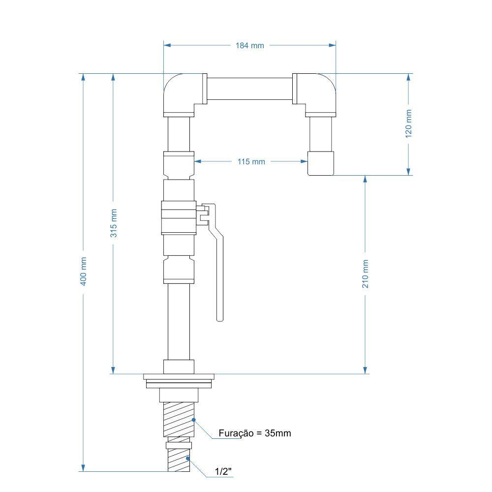 TORNEIRA DESIGN INDUSTRIAL EM PVC REGISTRO ESFERA 1/2 PRETA