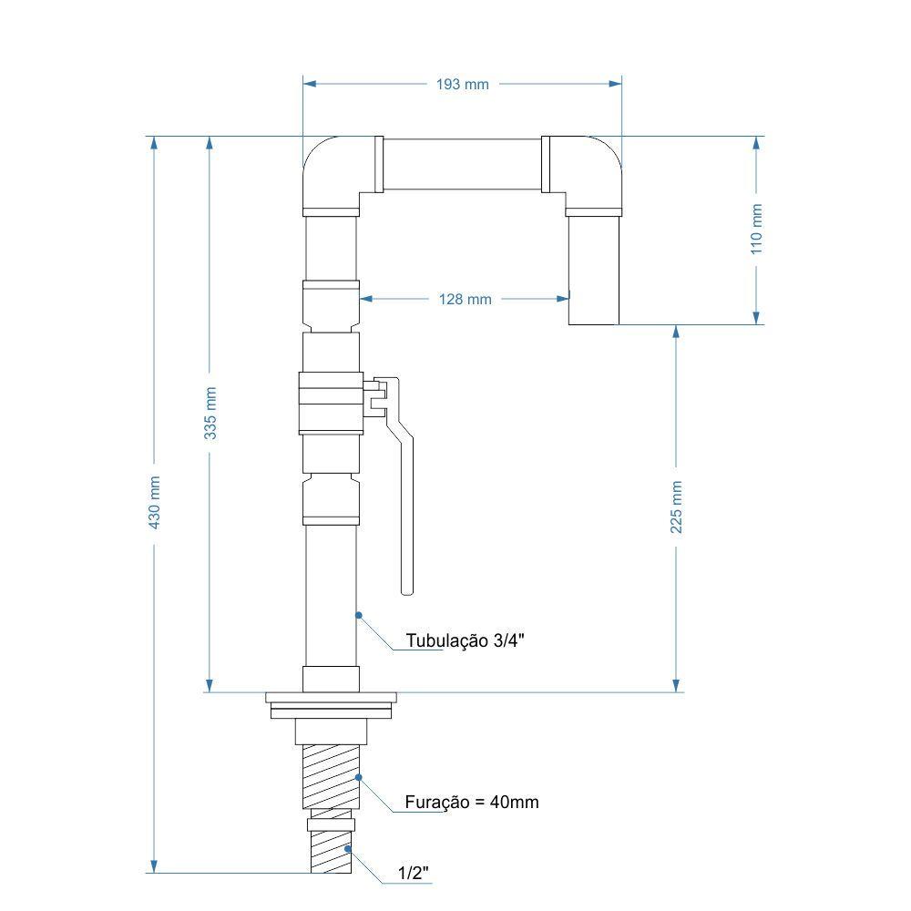 "Torneira Design Industrial PVC 3/4"" com Registro de Esfera - Madareli"