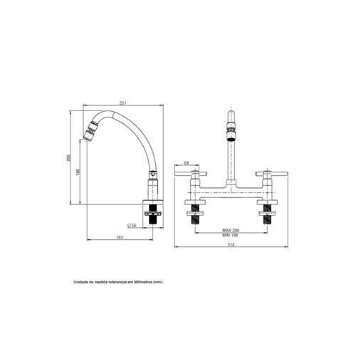 Torneira Misturador Bica Móvel de Mesa Cozinha C62 1/4 Volta