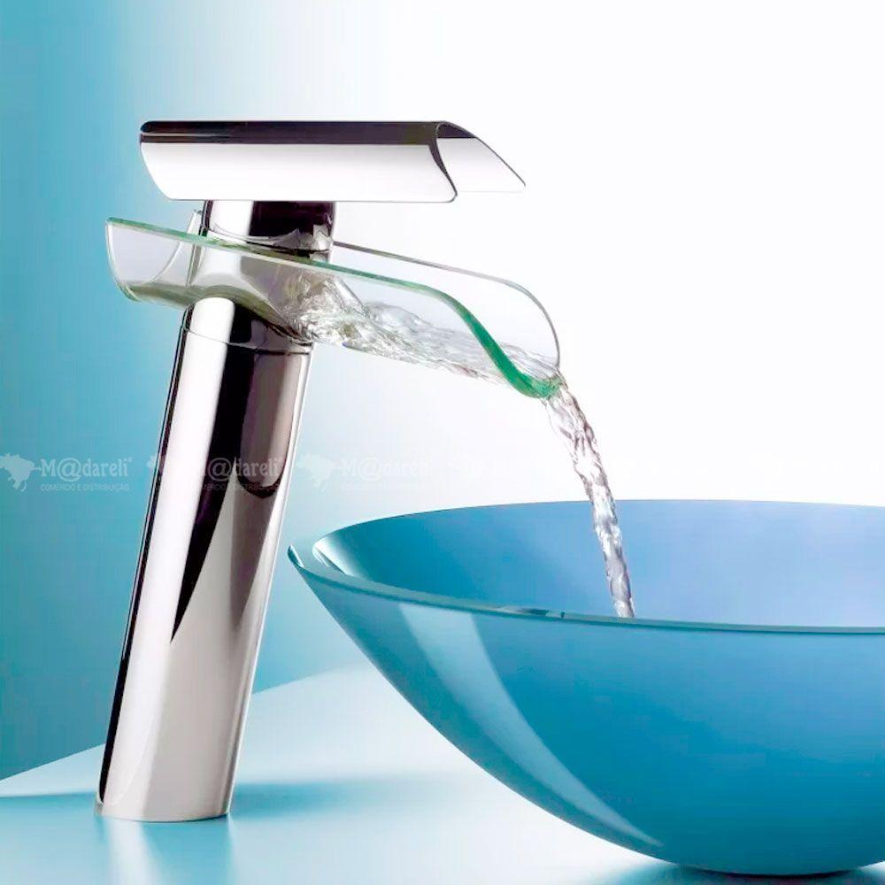 Torneira Misturador Monocomando Cascata Alta Vidro Banheiro