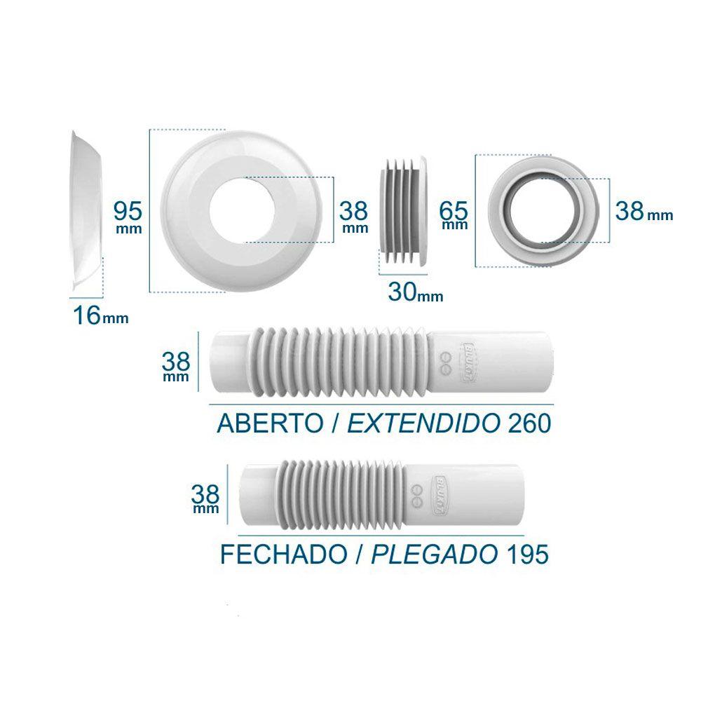 Tubo de Ligação Ajustável para Vaso Sanitário 250mm Cromado