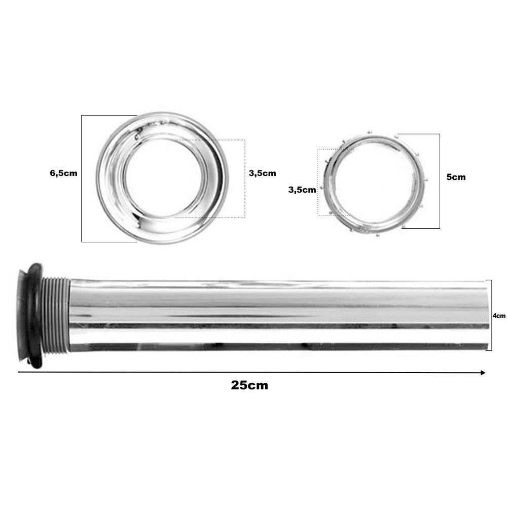 Tubo De Ligação Para Bacia Ajustável 1.1/2 Cromado 25 cm
