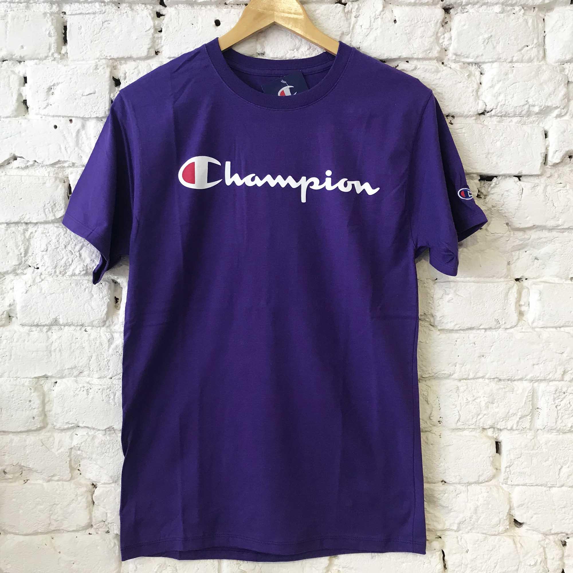 Camiseta Champion Logo Manuscrito Purpple