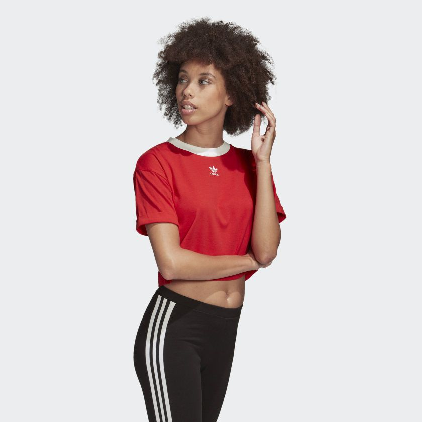 Camiseta cropped adidas red