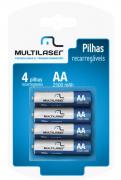 Pilhas Recarregáveis AA 2500 mAh Cartela C/ 4 Multilaser - CB052