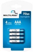 Pilhas Recarregáveis AAA 1000 mAh Cartela C/ 4 Multilaser - CB050