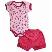 Conjunto Curto de Bebê Flamingos