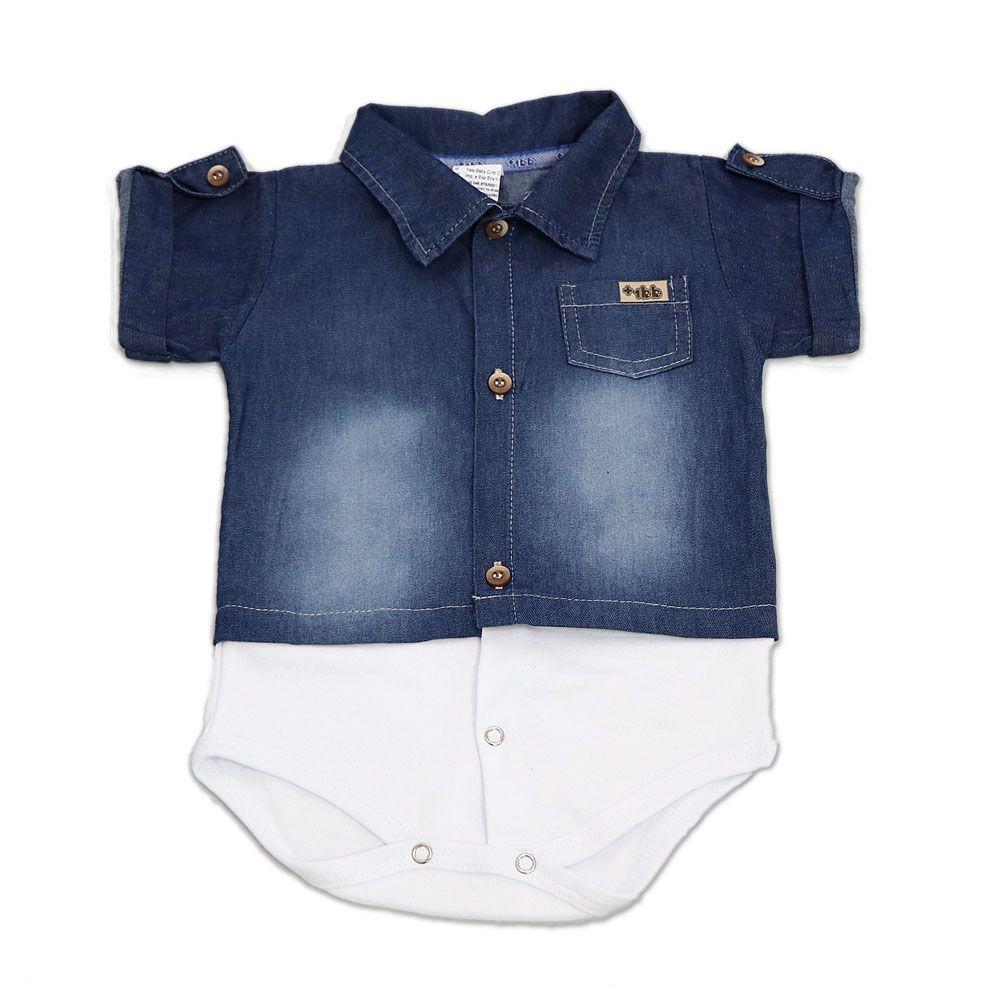 Body Camisa Jeans Manga Curta - Mais 1 BB