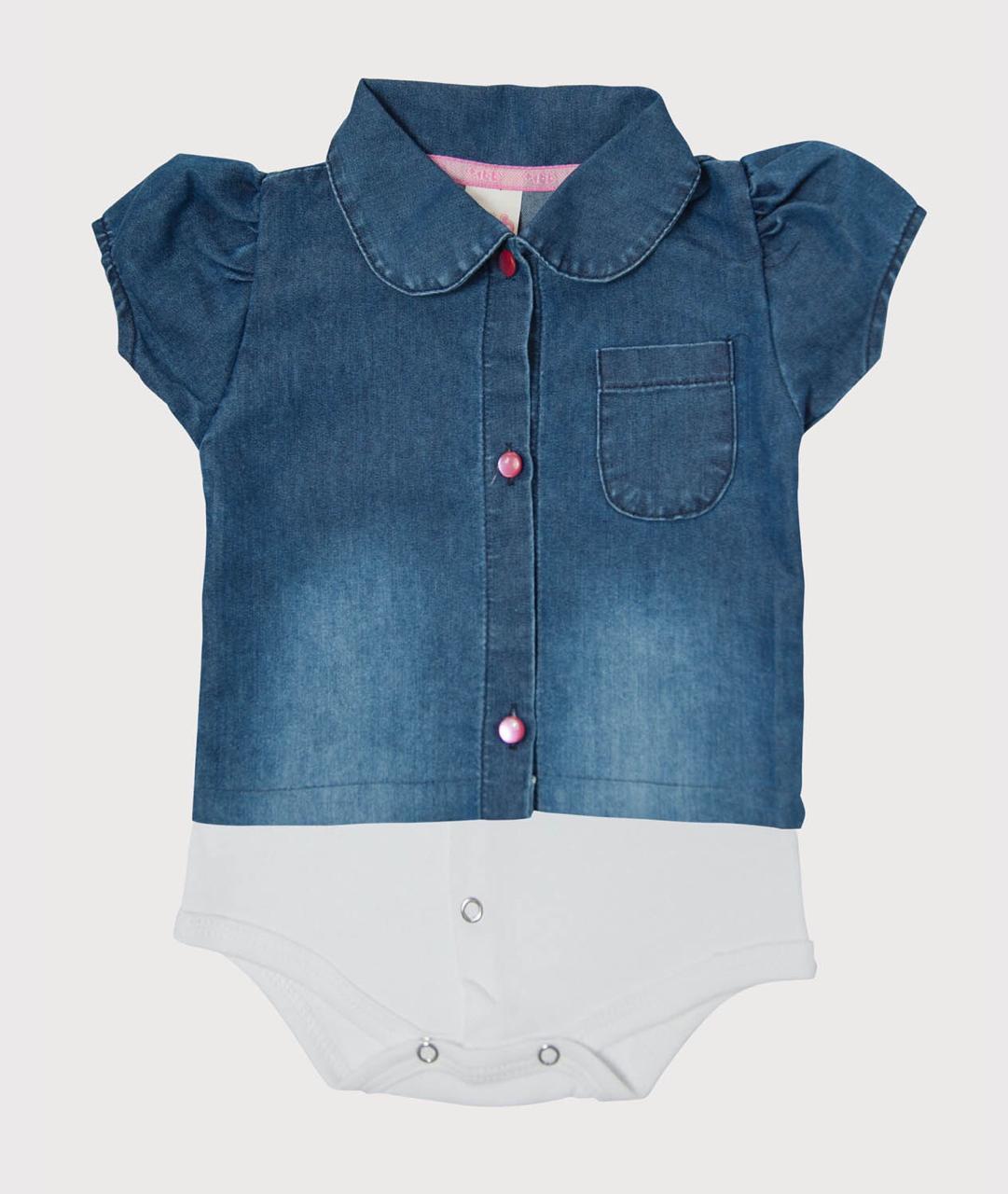 Body Camisa Jeans Manga Curta - Feminino