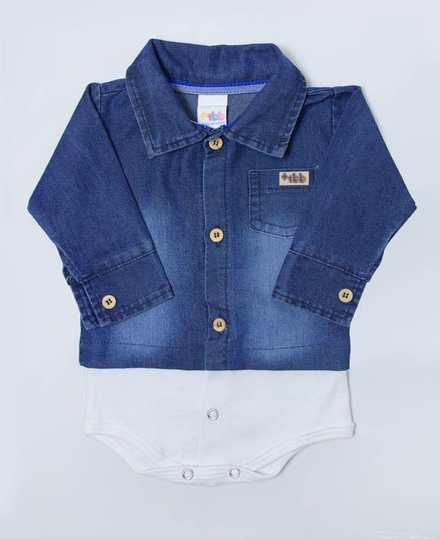 Body Camisa Jeans Manga Longa