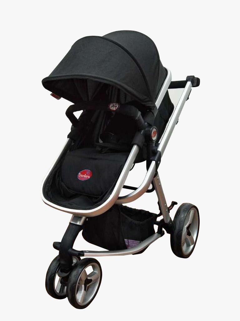 Carrinho 3 Rodas C/ Bebê Conforto Modelo Moisés Attractive Preto Dardara
