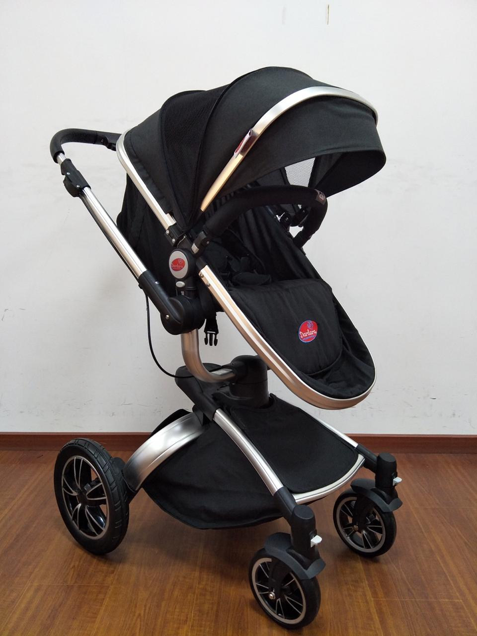 Carrinho de Bebê Giro 360º C/ Bebê Conforto - Preto