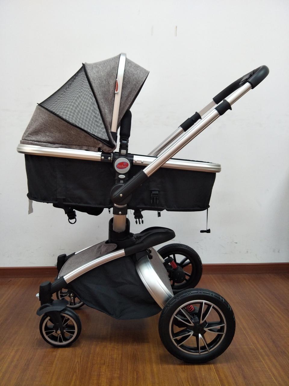 Carrinho de Bebê Giro 360º - Cinza