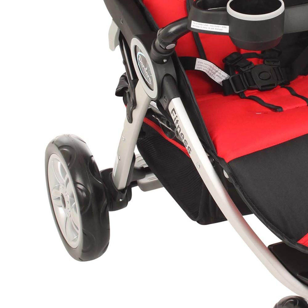 Carrinho De Bebê para Passeio 3 Rodas Fitness Vermelho Dardara