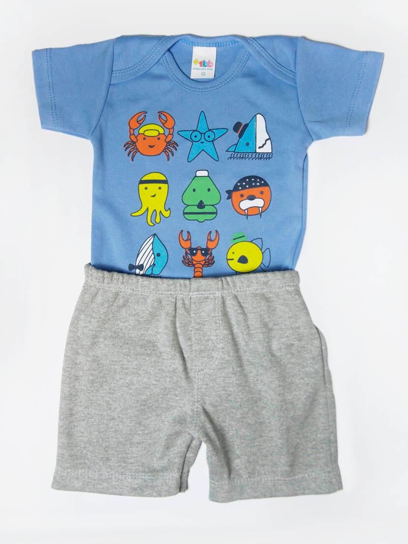 Conjunto Curto de Bebê Fundo do Mar