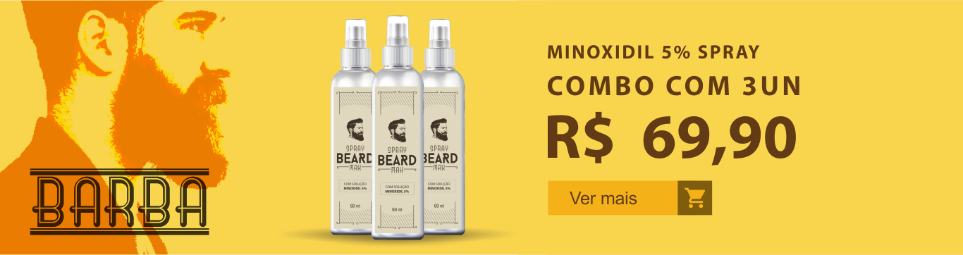 Minoxidil para Barba - Kit 3 uni. em até 5x. Aproveite!