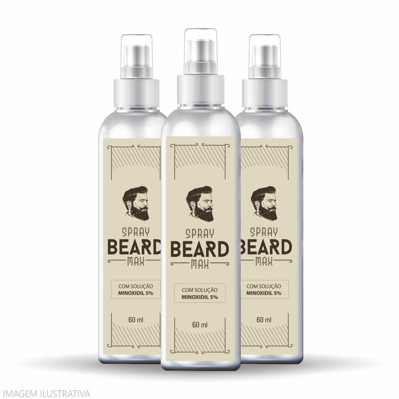 Minoxidil para Crescer Barba   Combo 03 Unidades  - Vitalle Farmácia de Manipulação