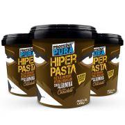 Proteína Pura - Combo Hiper Pasta de Amendoim Granulado com 40% Albumina Chocolate - 3 unidades