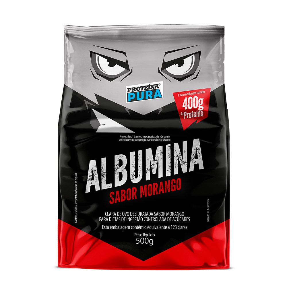 Proteína Pura - Albumina - 500g - Sabor Morango