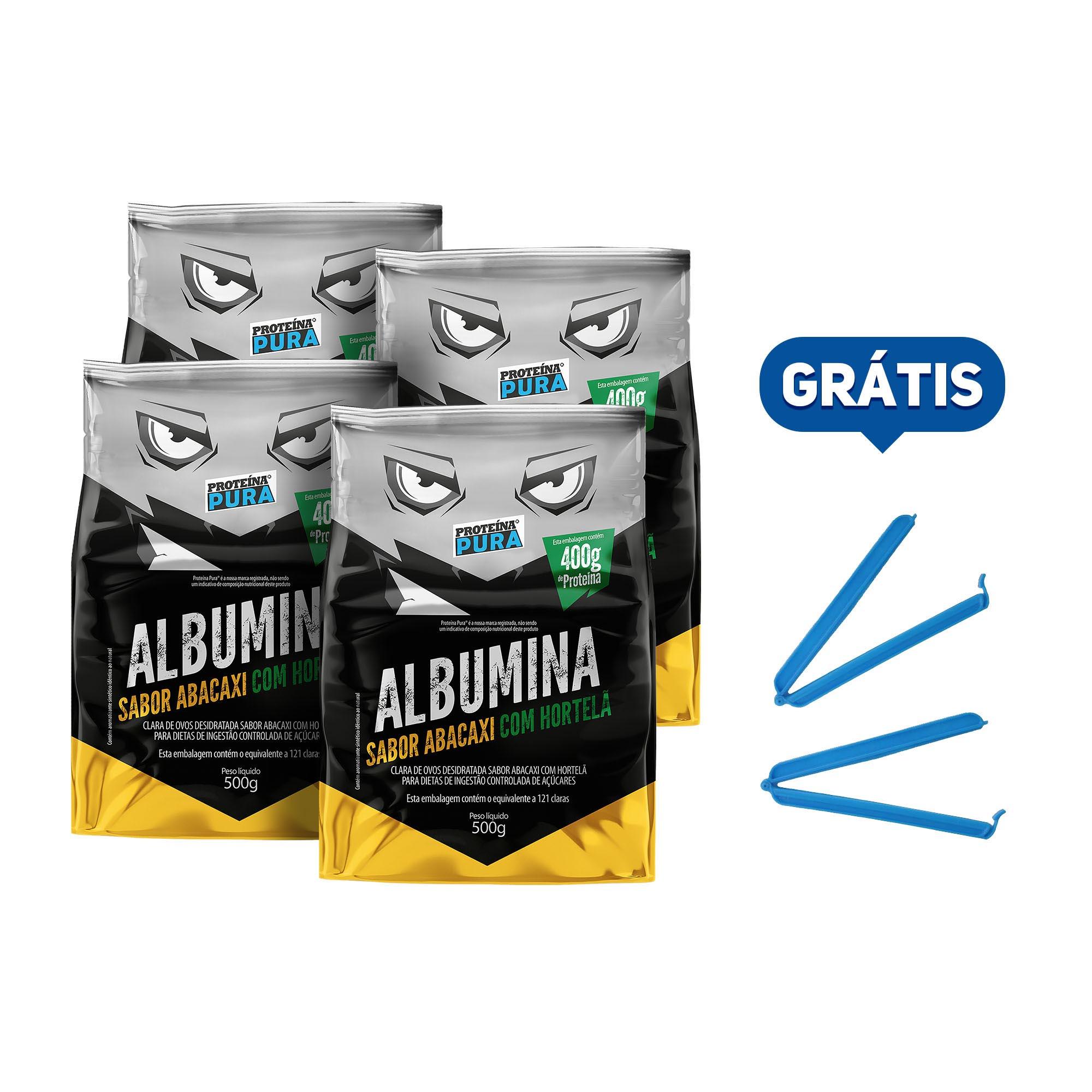 Kit Albumina Abacaxi com Hortelã - (4 un x 500g) - Proteína Pura