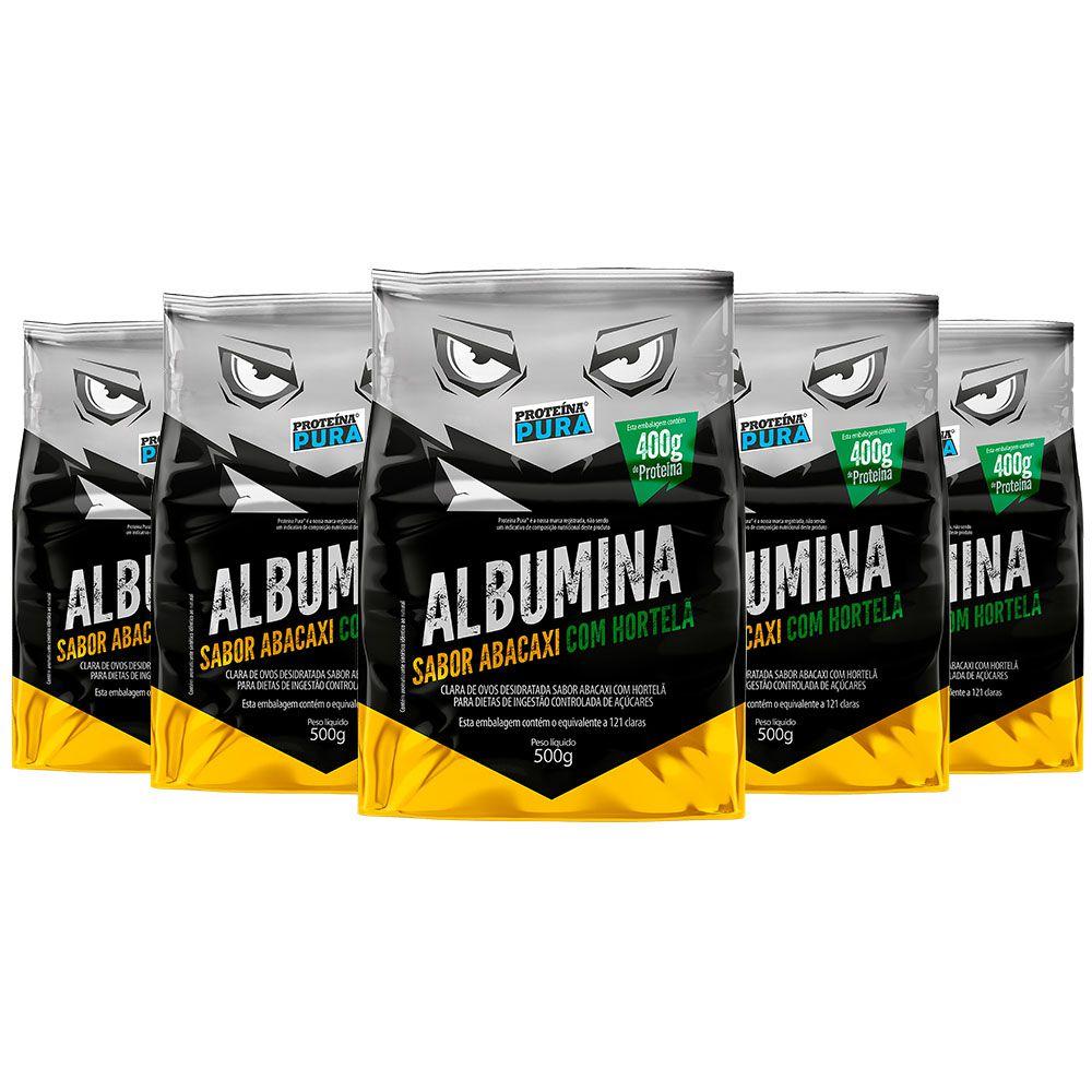 Kit Albumina Abacaxi com Hortelã - (5 un x 500g) - Proteína Pura