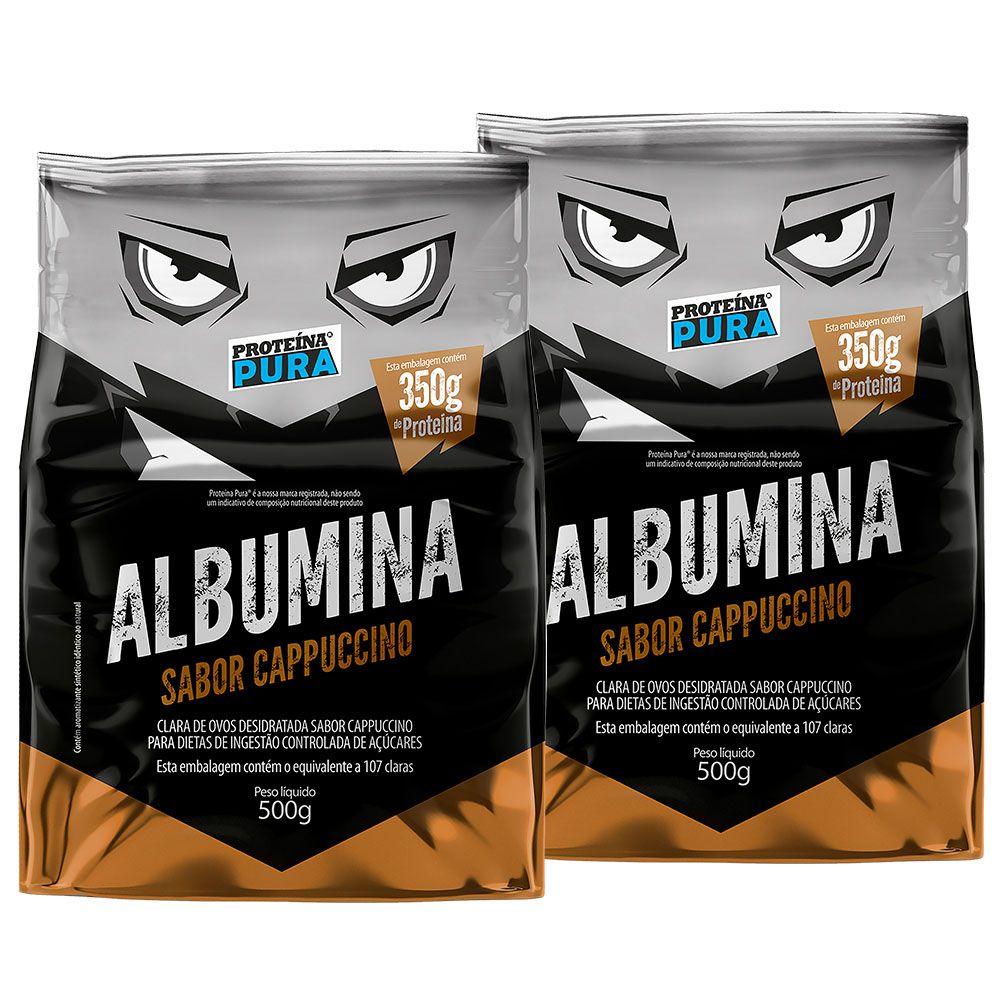 Kit Albumina Cappuccino - (2 un x 500g) - Proteína Pura