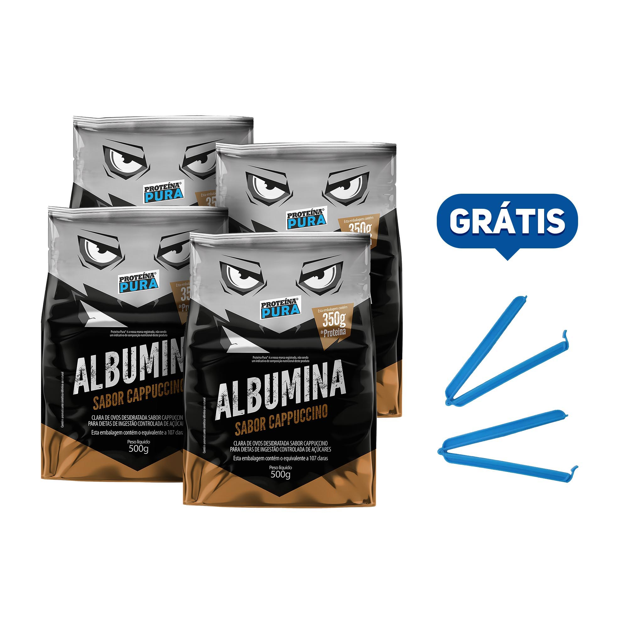 Kit Albumina Cappuccino - (4 un x 500g) - Proteína Pura
