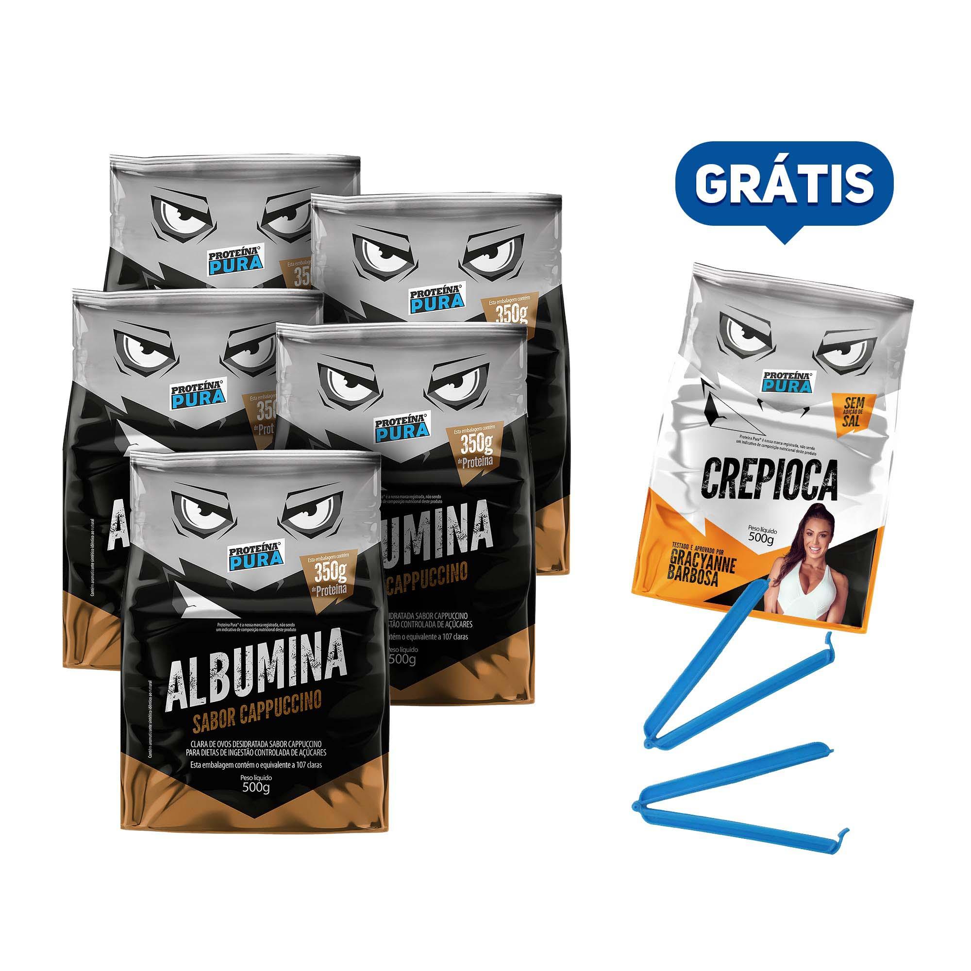Kit Albumina Cappuccino - (5 un x 500g) - Proteína Pura