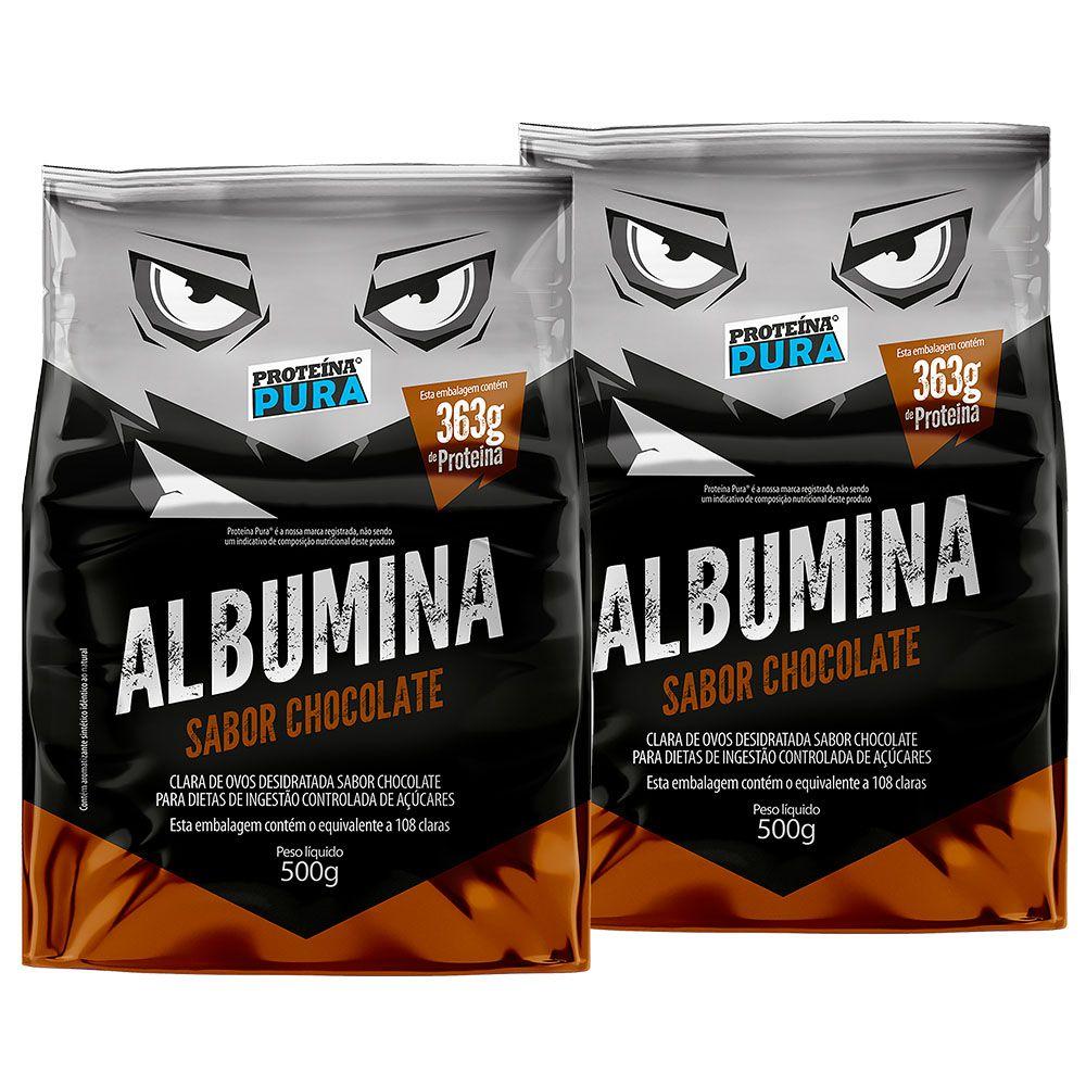 Kit Albumina Chocolate - (2 un x 500g) - Proteína Pura