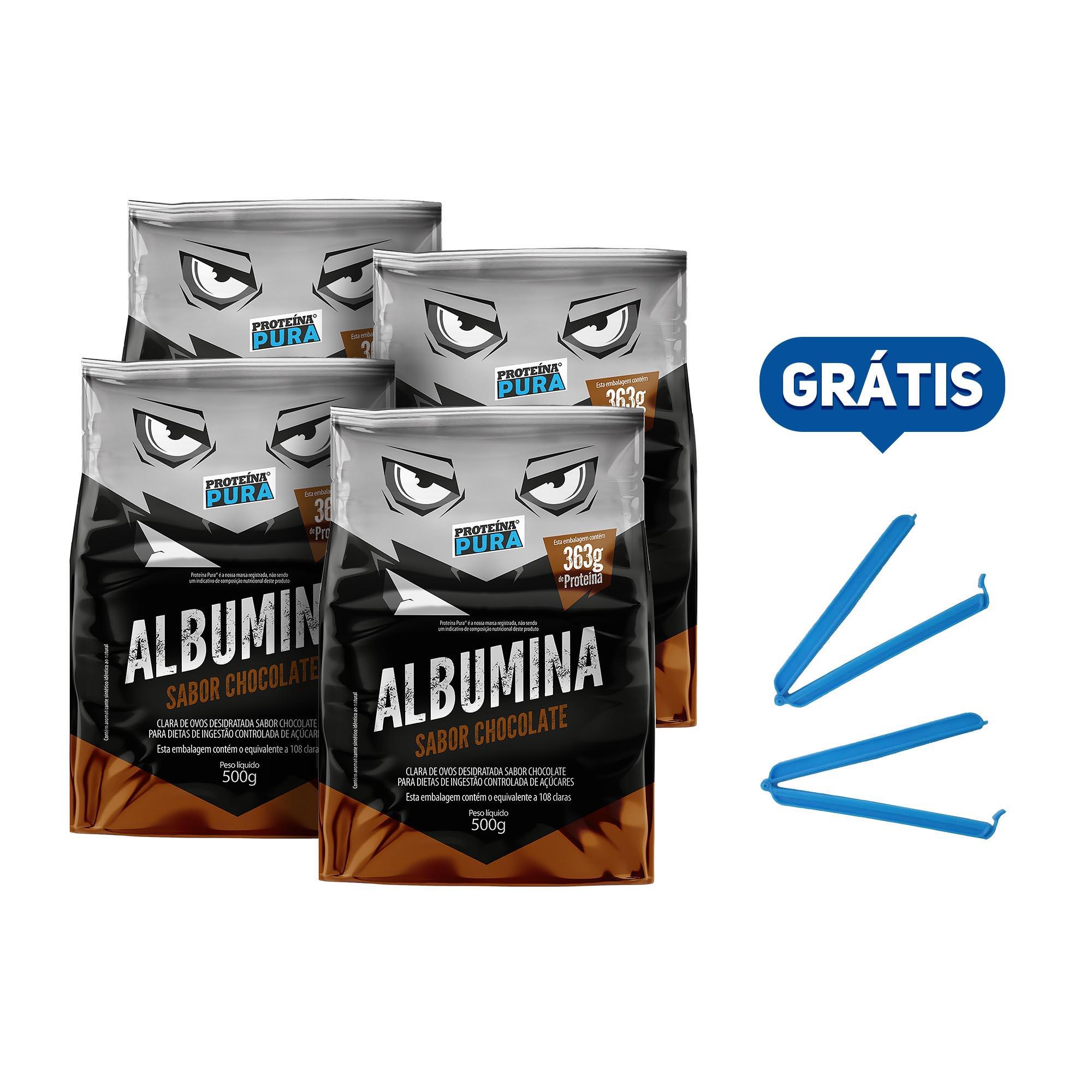 Kit Albumina Chocolate - (4 un x 500g) - Proteína Pura