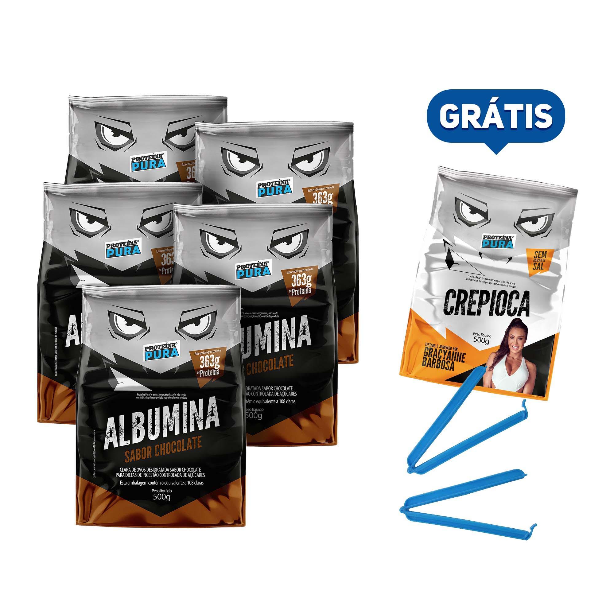 Kit Albumina Chocolate - (5 un x 500g) - Proteína Pura