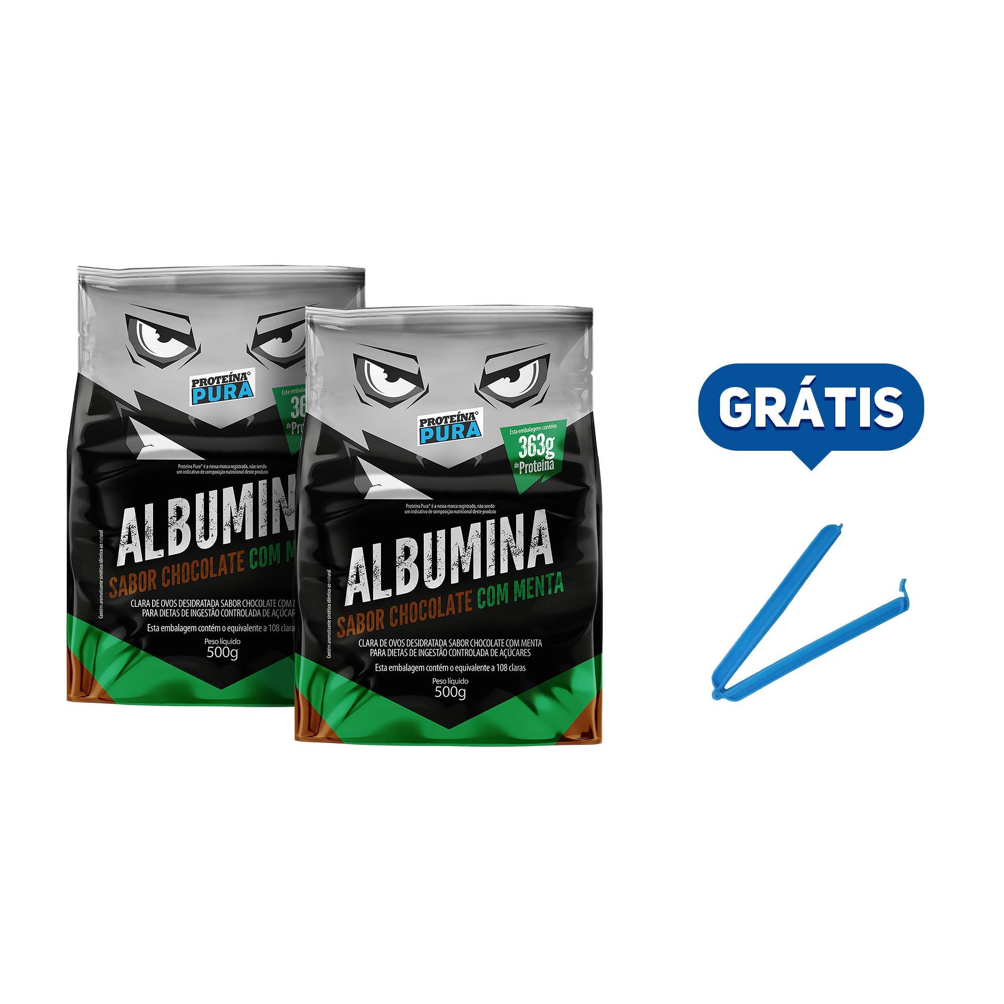 Kit Albumina Chocolate com Menta - (2 un x 500g) - Proteína Pura