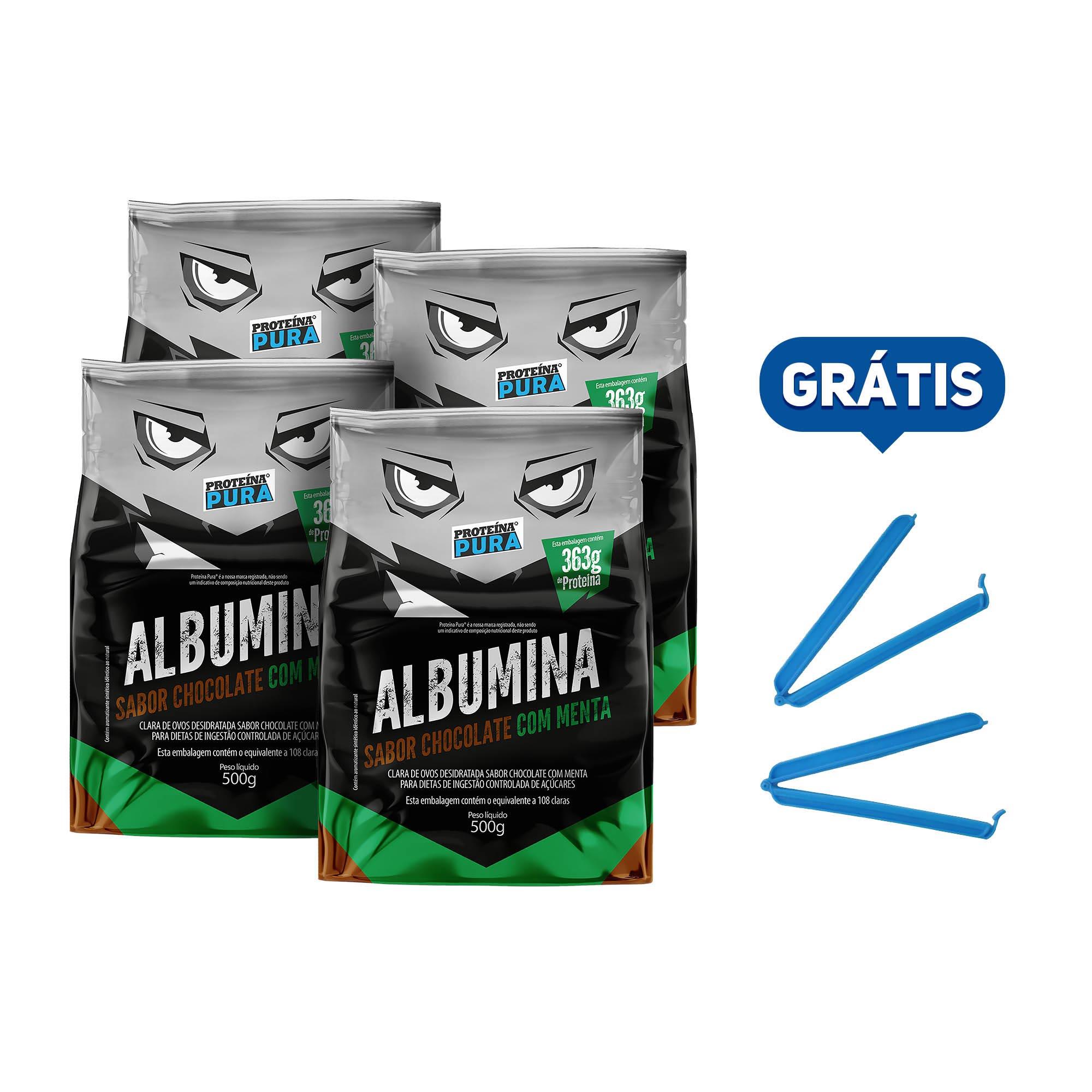 Kit Albumina Chocolate com Menta - (4 un x 500g) - Proteína Pura