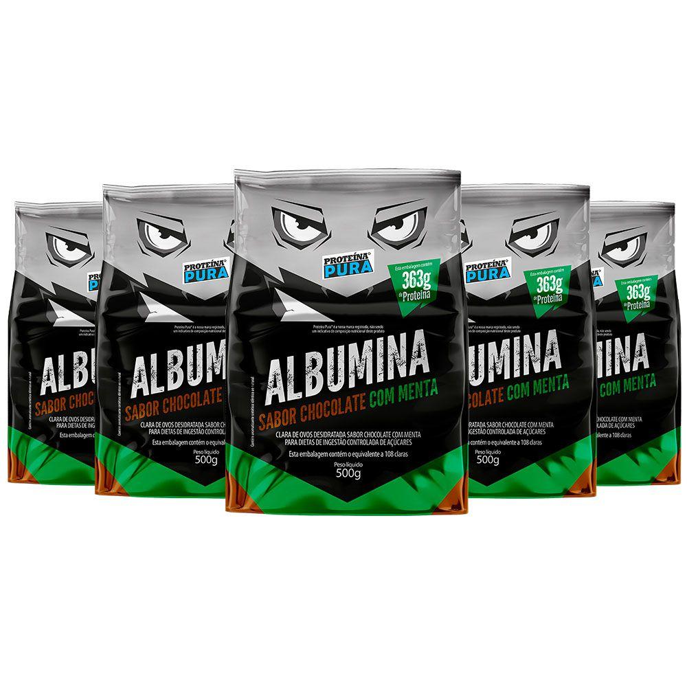 Kit Albumina Chocolate com Menta - (5 un x 500g) - Proteína Pura