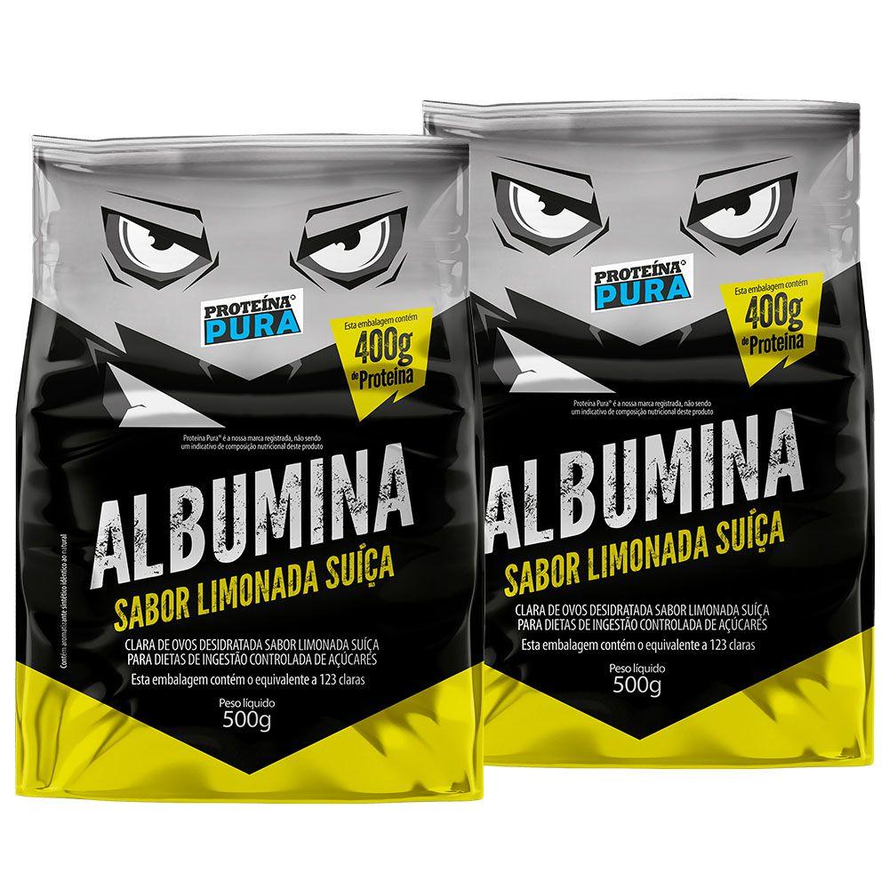 Kit Albumina Limonada Suíça - (2 un x 500g) - Proteína Pura