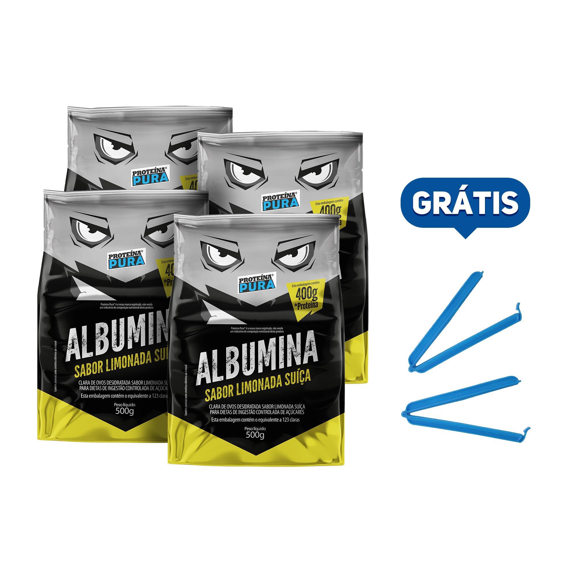 Kit Albumina Limonada Suíça - (4 un x 500g) - Proteína Pura