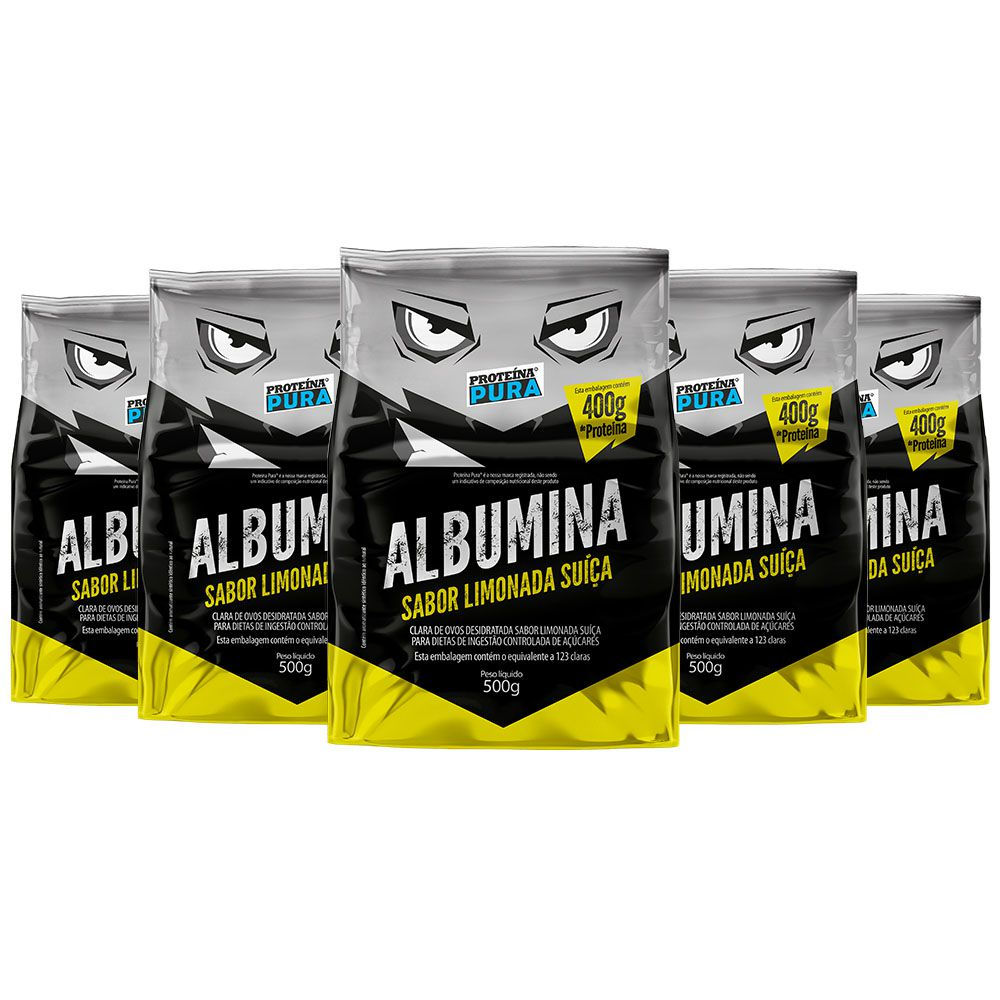 Kit Albumina Limonada Suíça - (5 un x 500g) - Proteína Pura