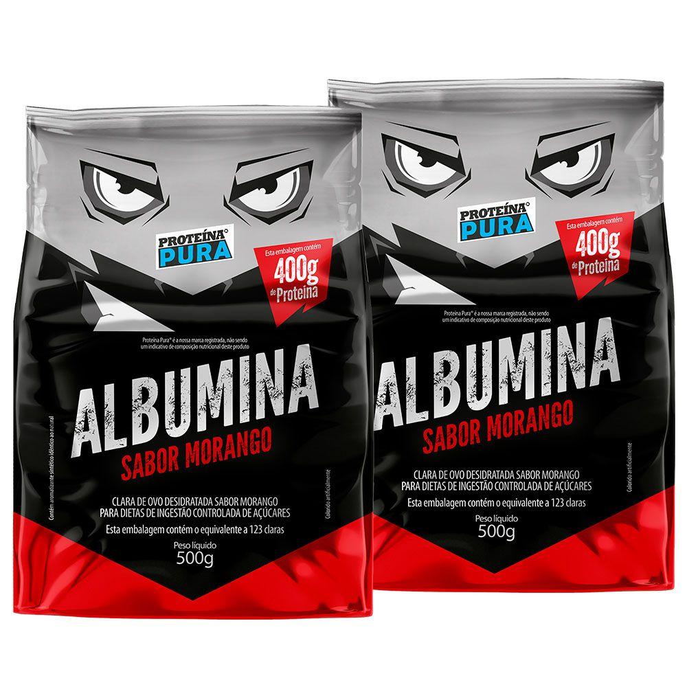 Kit Albumina Morango - (2 un x 500g) - Proteína Pura