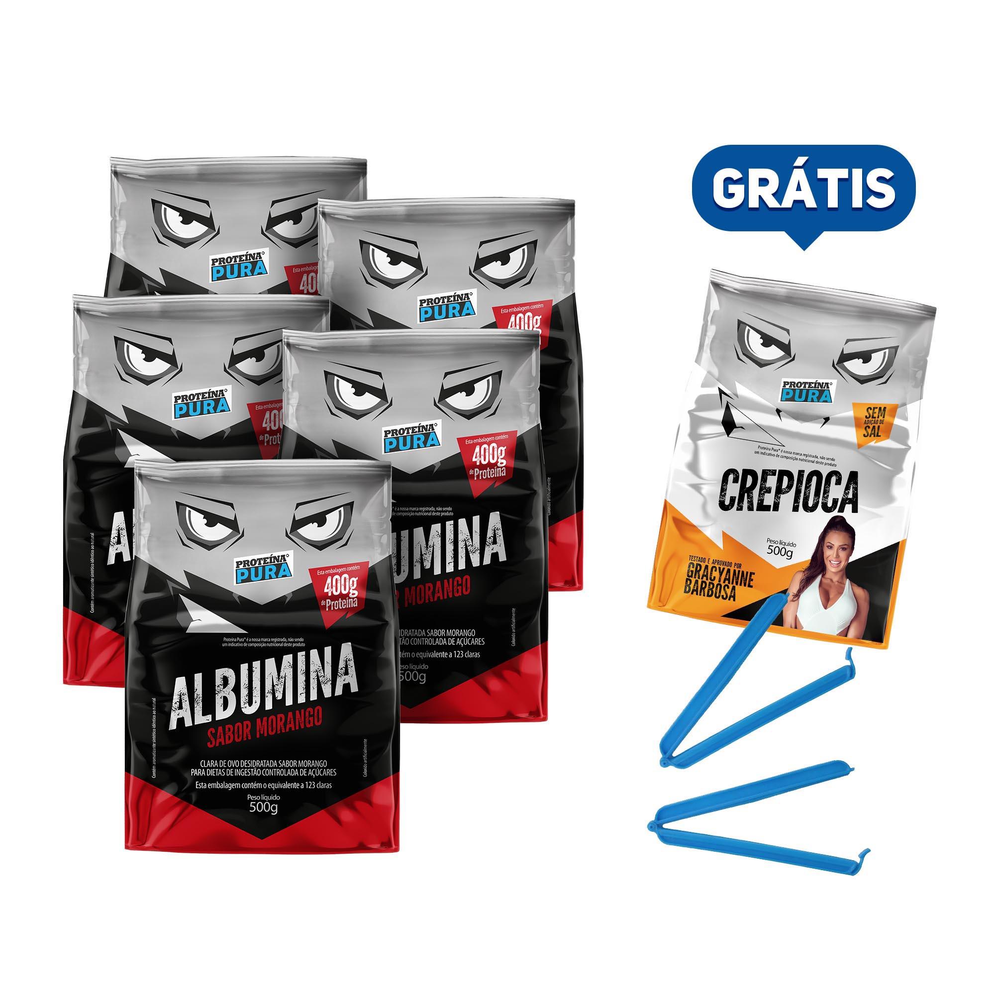 Kit Albumina Morango - (5 un x 500g) - Proteína Pura