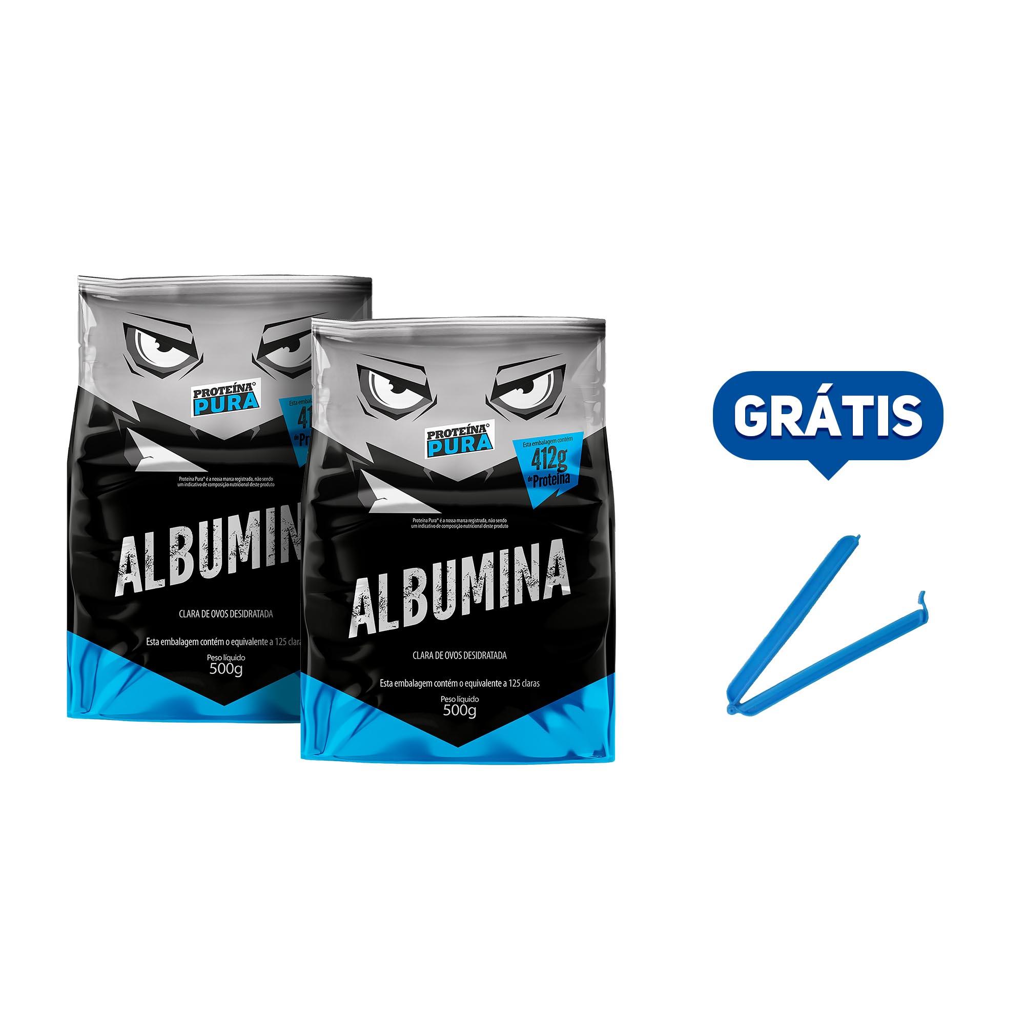 Kit Albumina Natural - (2 un x 500g) - Proteína Pura