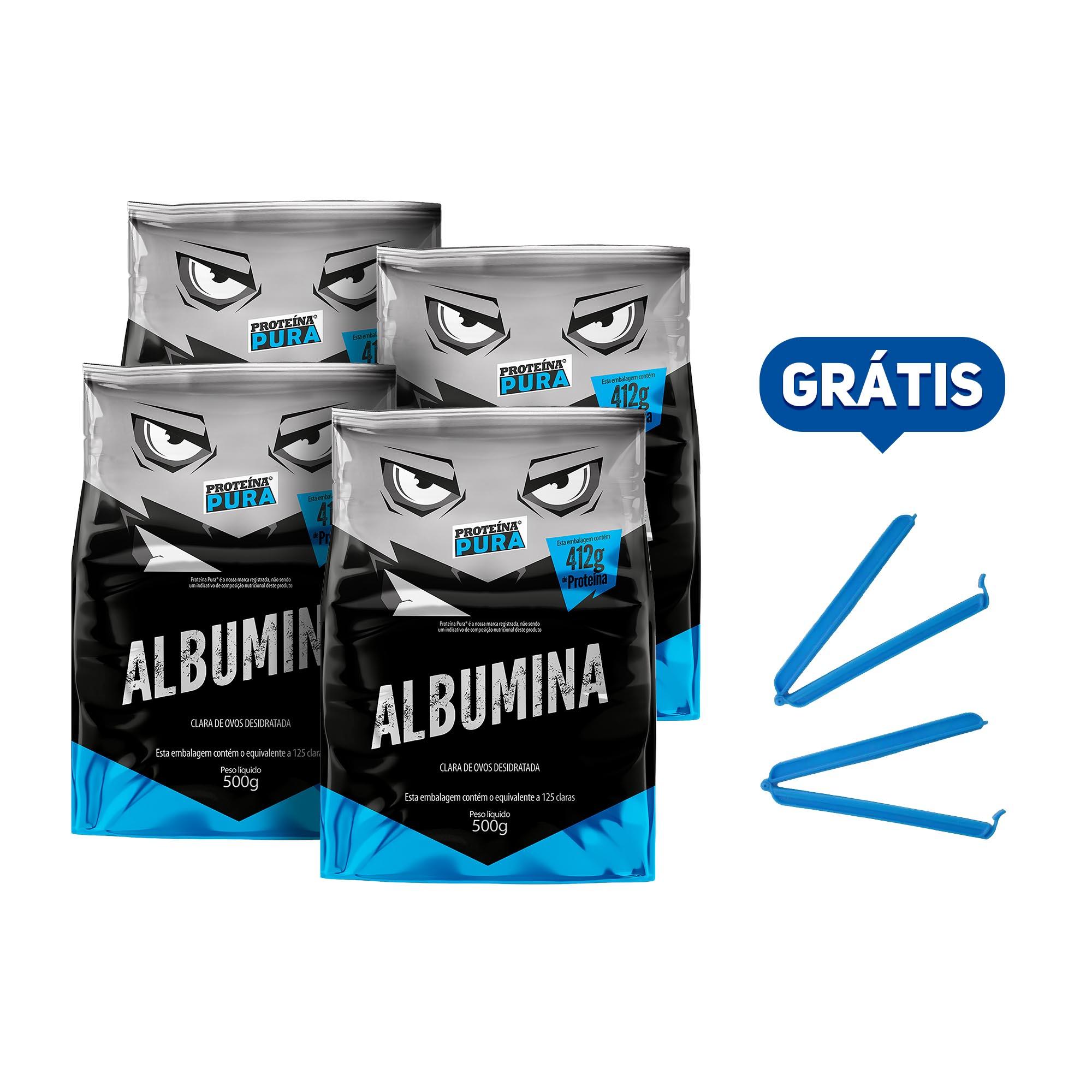 Kit Albumina Natural - (4 un x 500g) - Proteína Pura