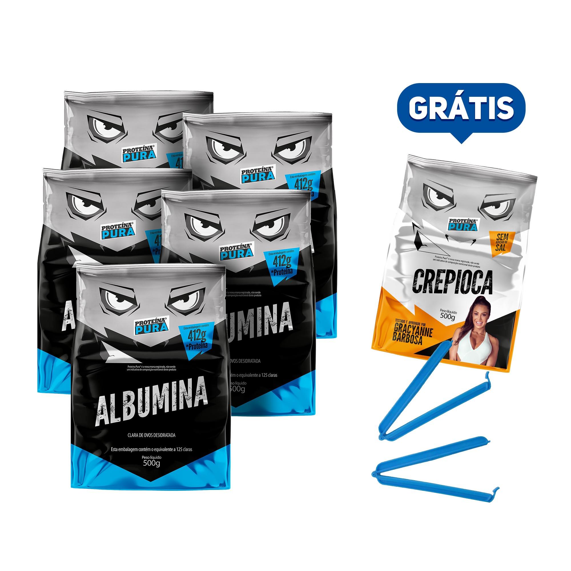 Kit Albumina Natural - (5 un x 500g) - Proteína Pura