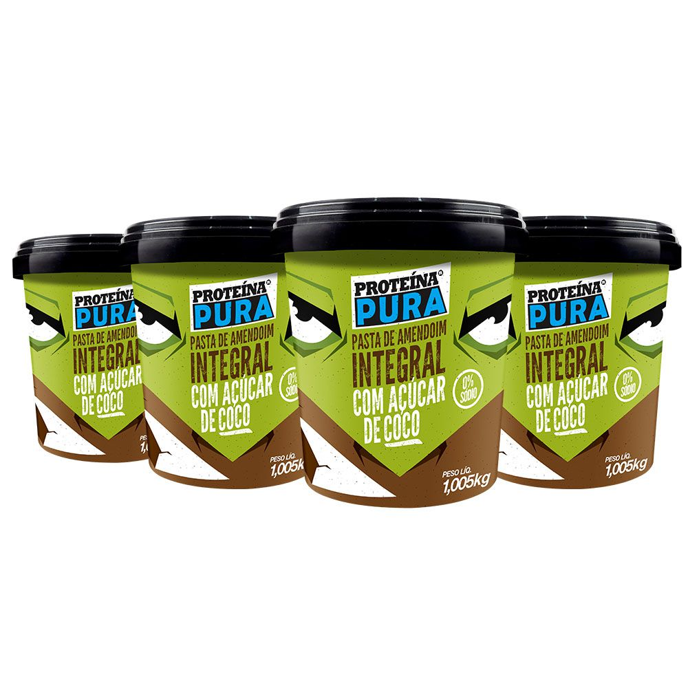 Kit Pasta de Amendoim com Açúcar de Coco - (4 un x 1Kg) - Proteína Pura