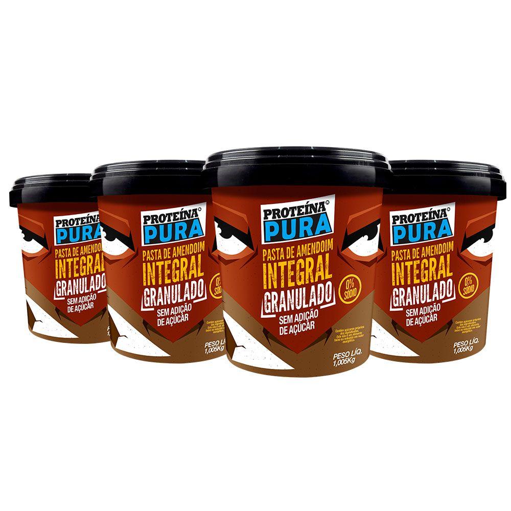 Kit Pasta de Amendoim Granulado - (4 un x 1Kg) - Proteína Pura