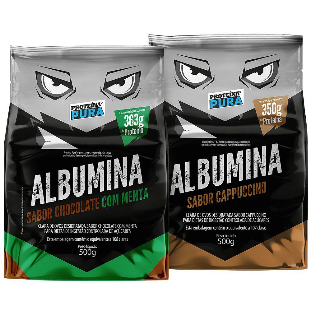 Kit Albumina Chocolate com Menta + Albumina Cappuccino - (2 un x 500g) - Proteína Pura