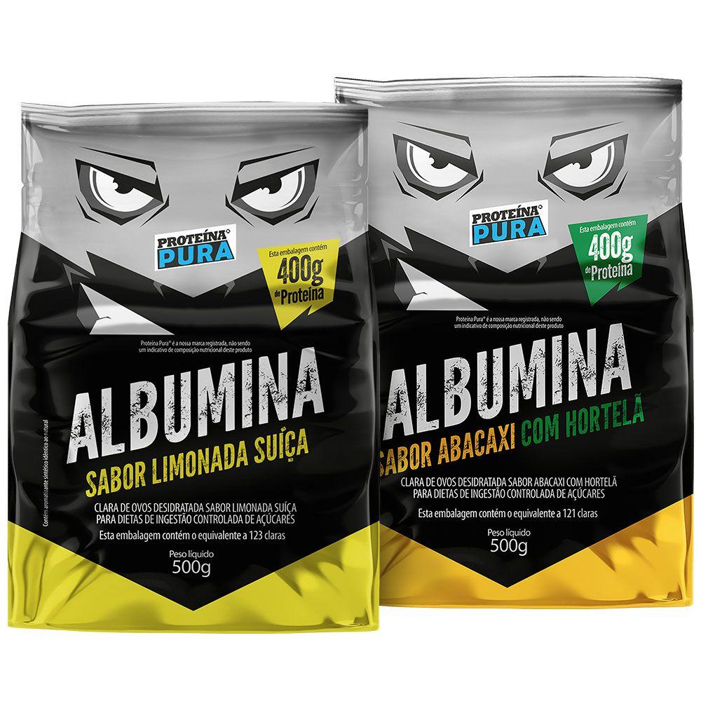 Proteína Pura - Kit Albumina Limonada Suíça + Albumina Abacaxi com Hortelã - (2un x 500gr)