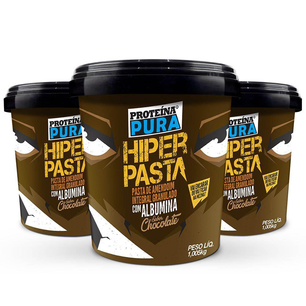 Kit Hiper Pasta de Amendoim Granulado com 40% Albumina Chocolate -  ( 3 un x 1Kg)  -  Proteína Pura