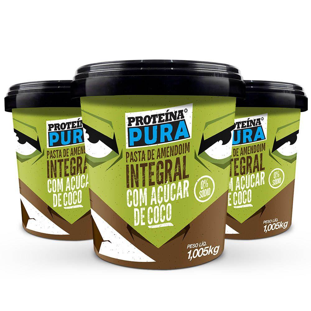 Kit Pasta de Amendoim com Açúcar de Coco -   ( 3 un x 1Kg)  - Proteína Pura