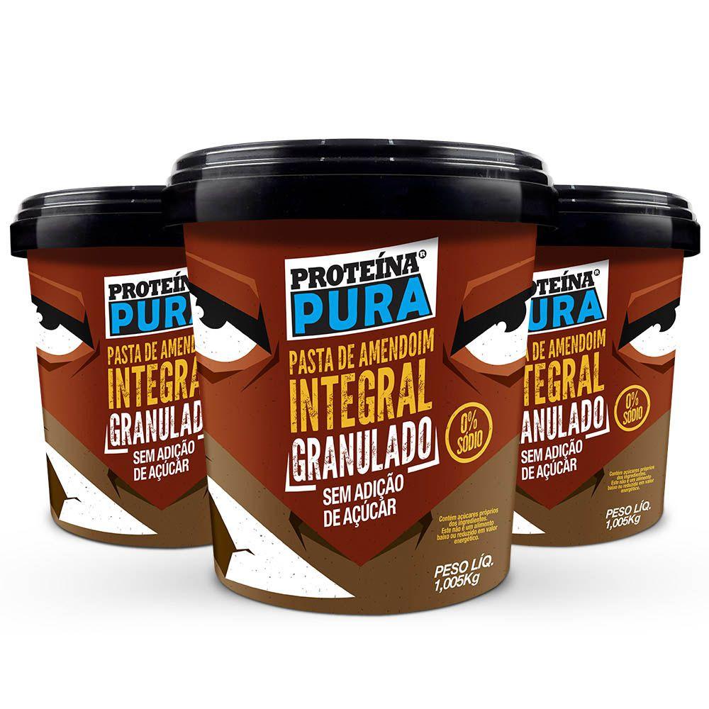 Kit Pasta de Amendoim Granulado -  ( 3 un x 1Kg) - Proteína Pura